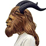 Fenbo Beauty and The Beast Costume Full Face The Beast Mask Adult with Deluxe Wig Horns Props Brown, Large