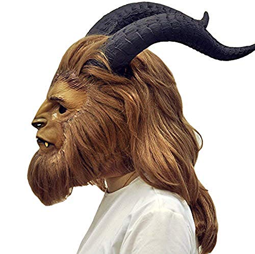 LIUQI Sterben Schöne und das Biest Maske Prinz Volle Gesicht Cosplay Maske Helm mit Deluxe Perücke Hörner Requisiten Kostüm Prop