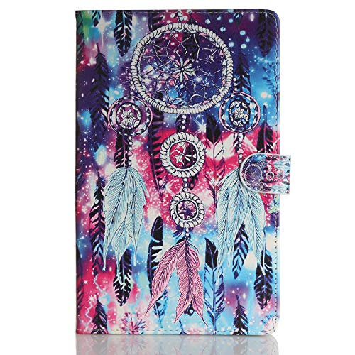Case for Tablet iPad Mini, Flip Cover Leather Wallet with Card Holder for iPad Mini 1 2 3 4 5 - Colorful Dreamcatcher