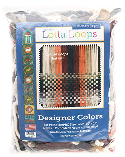 Harrisville Designs Lotta Loops 10 Pro Size Designer Cotton Loops Makes 8 Potholders, Weaving, Crafts For Kids And Adults-Assorted Colors