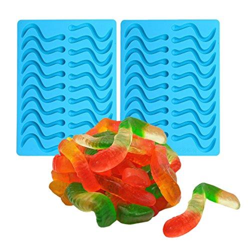 OFKPO 2 pcs Moules à Bonbons à Gummy, Moules à mouler en Mousse au Chocolat Fait Maison en Silicone et Compte-Gouttes, Forme en Worms