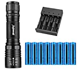 Tokeyla LED Flashlight with 8PCS 3.7V 5000mAh 18650 Rechargeable Battery and Universal 4 Bay Battery Charger, AAA or 18650 Battery Supported, 2000 Lumens 5 Modes Flashlight for Camping Hiking