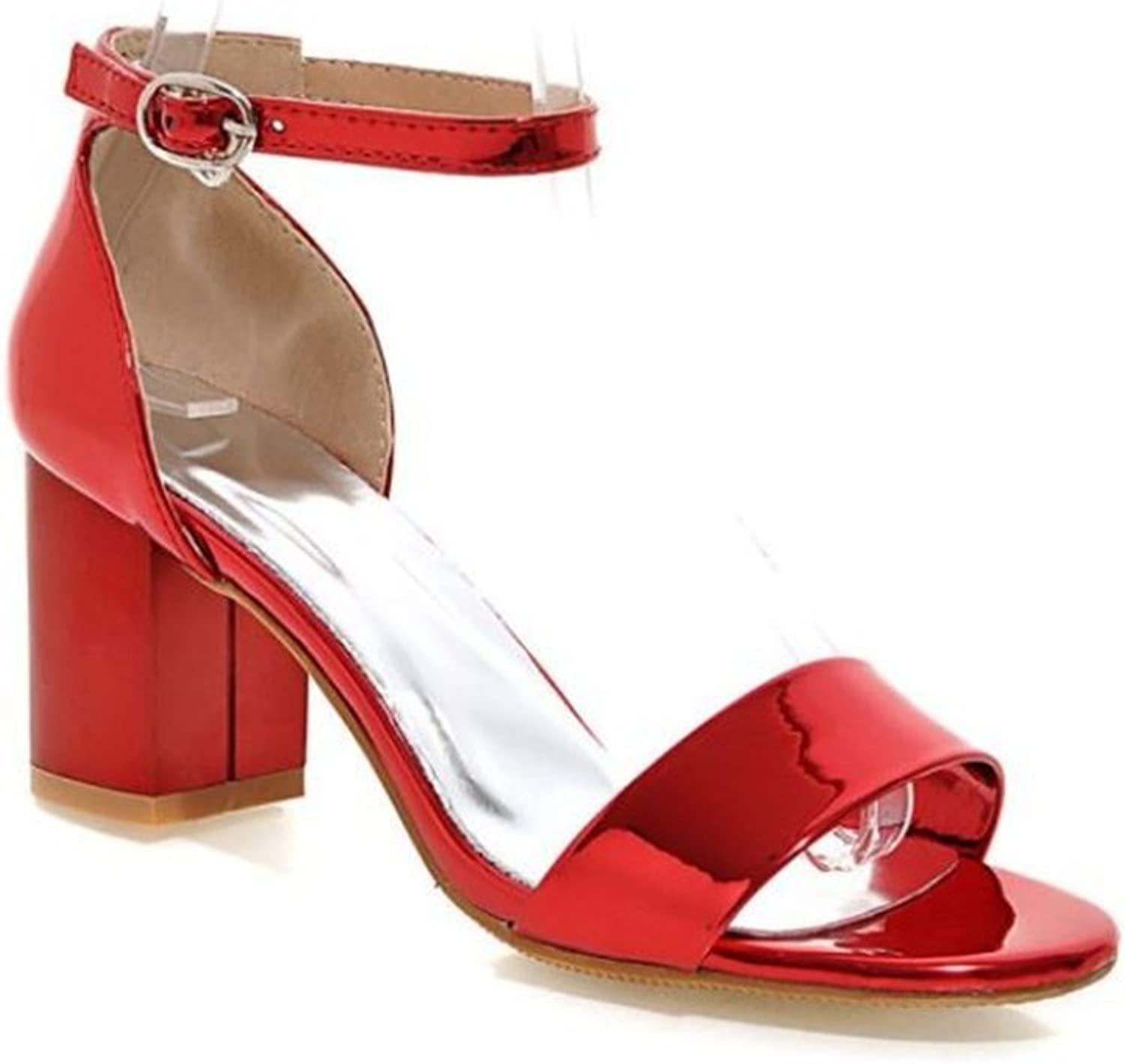 pink town Women's Strappy Chunky Block High Heel - Formal, Wedding, Party Simple Classic Sandals