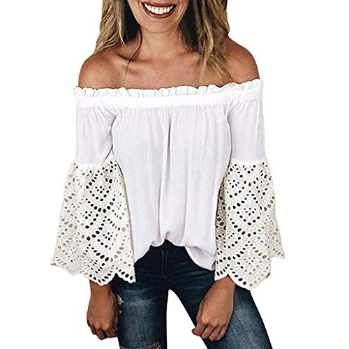 Best Price Women Long Sleeve Tank Blouse Casual Off Shoulder Ruffle Top Sexy Lace Tunics