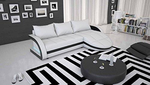 SalesFever Polster-Ecke mit Blauer LED und Kunstleder weiß/schwarz 265x158 cm | Laganio | Design Sofa-Garnitur in L-Form mit Recamiere | Gesteppte...