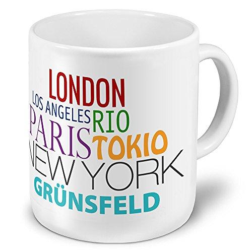 XXL Jumbo-Städtetasse Grünsfeld - XXL Jumbotasse mit Design Famous Cities of the World - Städte-Tasse, Städte-Krug, Becher, Mug