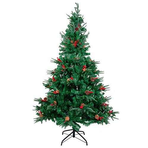 Kranich 1.8m Árbol de Navidad con Piñas y Frutos Rojos, construcción rápida Incl. Soporte para árbol de Navidad, Navidad decoración