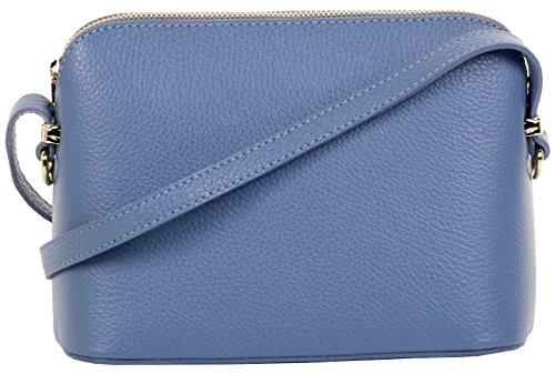 Primo Sacchi Italienische texturiert blau Leder handgefertigt kleine dreieckige Nackenband mit Halterung Schulter oder als Crossbody-Bag.Umfasst eine Marke schützenden Aufbewahrungstasche
