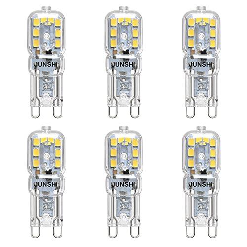JUNSHI G9 LED Lampe, 2,5 w bis 20W, 6500K Kaltweiß, 230 Lumen, AC220-240V, nicht dimmbar, 6 Stück