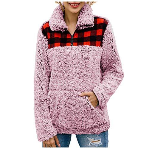 Yesmile Sweatshirt Damen Winter Warm Weich Hoodie Pullover Mit Kapuze Seitentasche Flauschig Teddy Fleece Winterpullover Sweater Langarm Kapuzenpullover Oversize