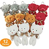 KUDES 12pcs Mini Bears Plush Toys(1 Dozen), Stuffed Teddy Bears Animals Keychain Doll Bulk (4 Colours) for Wedding Party Favors, Baby Shower ,Stocking Stuffers