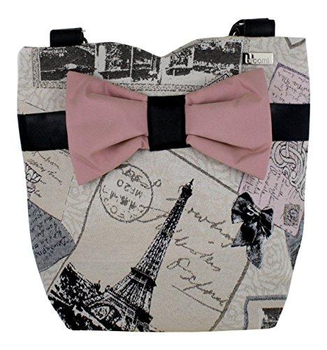 French Vintage Bow Bag'Bons Baisers De Paris' - Eiffel Tower Print - Beige Pinkish - 11.6' X 13' X 5.5'