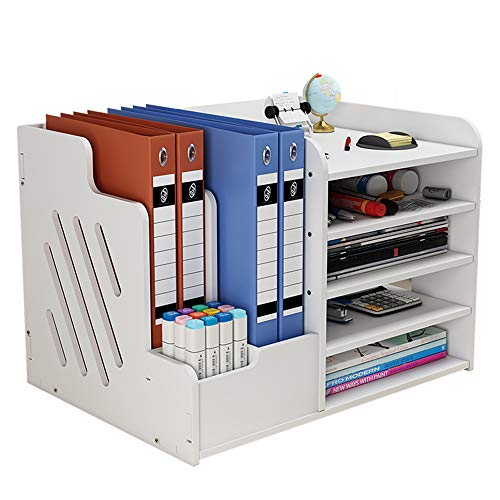 Organizador de escritorio blanco de gran capacidad, papelería de oficina, organizador de escritorio, organizador de almacenamiento para papeles A4, bolígrafos, libros, cartas y documentos (PB07-3)