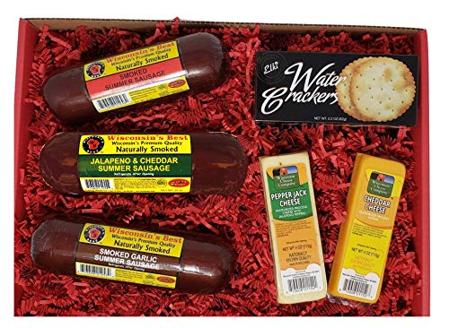 WISCONSIN'S BEST and WISCONSIN CHEESE COMPANY'S | Snacker Gift Basket | features Smoked Summer Sausages Sampler | 100% Wisconsin Cheeses and Crackers - A...