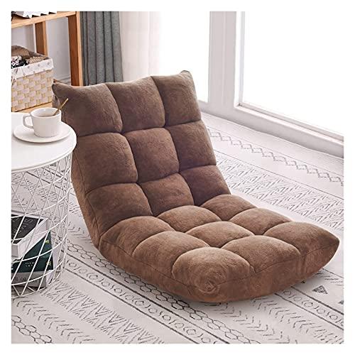 Meishikanka Sillas plegables para el suelo, silla de meditación, respaldo totalmente plegable, extraíble, gris, lavable, portátil, para sala de estar, dormitorio (color: marrón)