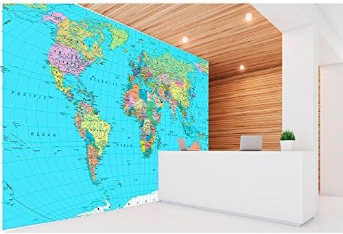 Oedim Fotomural Vinilo para Pared Mapamundi Político Fondo Azul | Mural | Fotomural Vinilo Decorativo | 100 x 70 cm | Decoración comedores, Salones, Habitaciones: Amazon.es: Hogar
