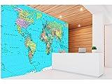 Fotomural Vinilo Pared Mapamundi Político Fondo Azul | Fotomural para Paredes | Mural | Vinilo Decorativo | Varias Medidas 150 x 100 cm | Decoración comedores, Salones, Habitaciones.