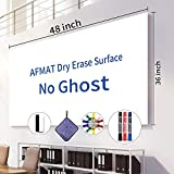 White Board Roll, 4' x3' Whiteboard Post Paper, 48 x 36 inches Dry Erase Contact Paper, AFMAT Whiteboard Sticker Paper Sheets, Stick on Dry Erase Board for Wall, Table, Doors, 3 Markers, No Ghost