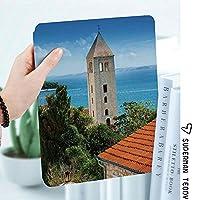 iPad 2/3/4 対応 2つ折りケース スタンド機能 オートスリープ超薄型 傷つけ防止ケース 手帳型カバー 環境にやさしい材質歴史的な塔のあるクロアチアの旧市街の航空写真遺産アートプリントの装飾