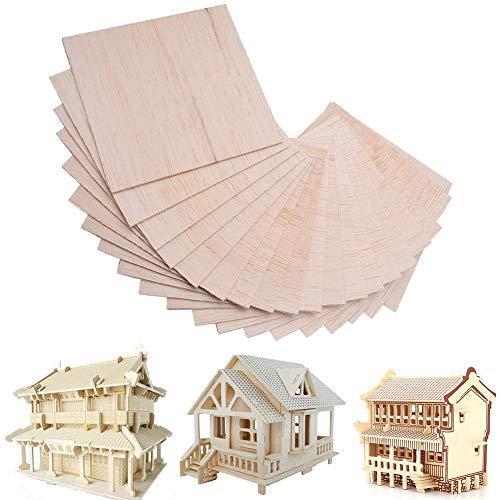 30 Fogli di Legno di Balsa per Modellismo, Artigianato Hobby Pittura per Fai da te Casa Woodcraft DIY Creative Gioco Per Bambini e Adults 100 x 100 x 1.5 mm