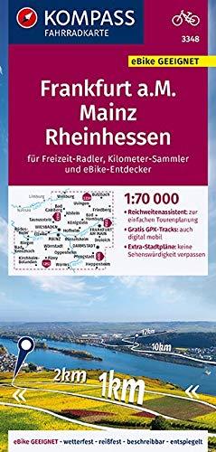 KOMPASS Fahrradkarte Frankfurt a.M., Mainz, Rheinhessen 1:70.000, FK 3348: reiß- und wetterfest mit Extra Stadtplänen (KOMPASS-Fahrradkarten Deutschland, Band 3348)