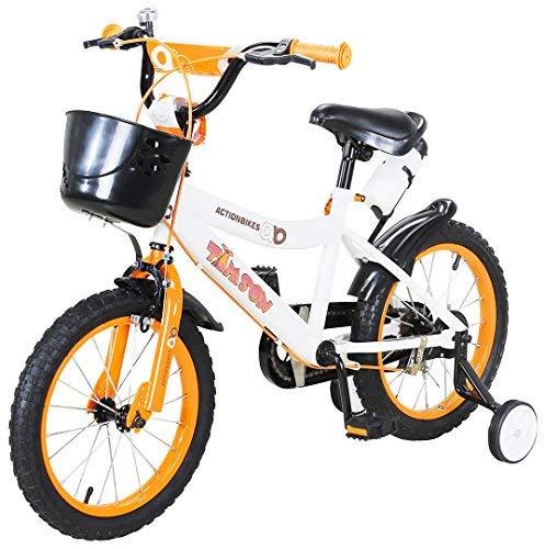 Actionbikes Kinderfahrrad Timson - 16 Zoll - V-Break Bremse vorne - Stützräder - Luftbereifung - Ab 4-7 Jahren - Jungen & Mädchen - Kinder Fahrrad - Laufrad - BMX – Kinderrad (16`Zoll)