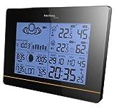 Technoline WS 6750 moderne Wetterstation mit Vorhersage von Wettersituation und Anzeige von Mondphasen in Form von Icons, hochglanz, schwarz, 17,1 x 5 x 12,3 cm
