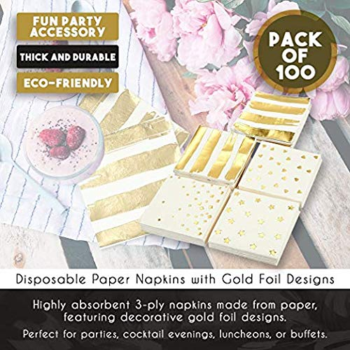 Gold Cocktail Napkins, Paper Party Napkins in 5 Designs (5 x 5 Inches, 100 Pack)