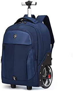RJW Business Trolley Case Big Wheel Trolley Backpack Outdoor Travel Bag Schoolbag Waterproof Large Capacity Backpack Backpack Fashion (Color : Blue, Size : 20in)