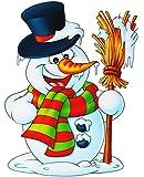 alles-meine.de GmbH XL Fensterbild -  lustiger Schneemann - Winter & Weihnachtsmotive  - statisch haftend - selbstklebend + wiederverwendbar / Weihnachten - Schneemänner / Tier.. -