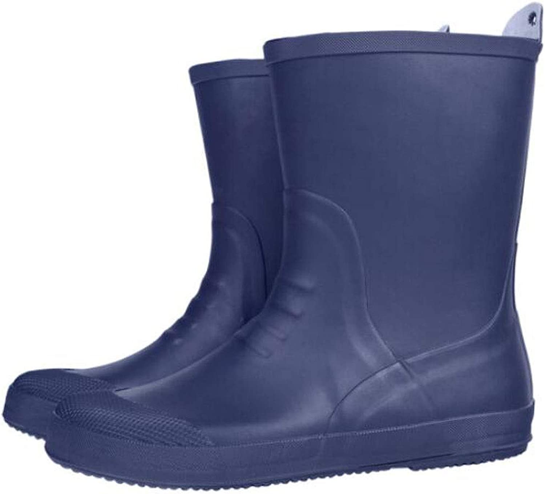 HYZSX Rubber Rain Boots, Fashion Outdoor Climbing Water shoes Car Wash Fishing shoes in The Tube