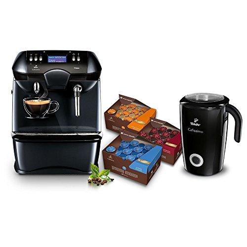 Tchibo Kaffeemaschine Cafissimo OFFICE ONE, 3 Vorratsboxen je 96 Kapseln, Inklusive Induktions-Milchaufschäumer, 500 ml in schwarz