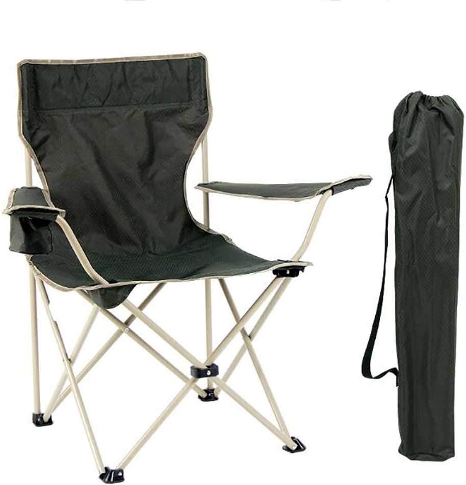 L@LILI Silla de Camping portátil al Aire Libre, Silla Plegable Ligera compacta con reposabrazos Playa de Pesca picnics Barbacoa Pesada Carga,A