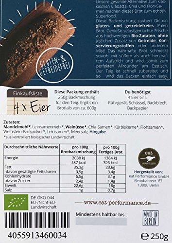 Paleo Brotbackmischung mit Chia (250g) von eat Performance (Bio, Superfood, Brot ohne Zucker und Getreide, glutenfrei, laktosefrei, low carb, eiweißbrot) - 4
