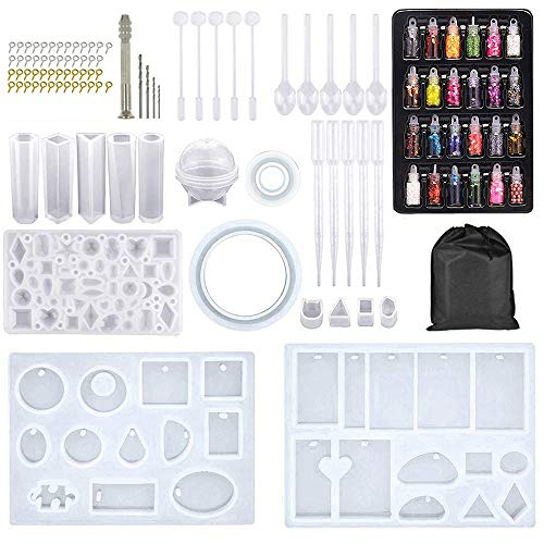 MACTREM 109 PCS Silicone Resin Moulds for Jewellery Making with a Storage Bag, Epoxy Resin Moulds, Jewelry Casting Molds Craft DIY Set