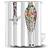 Whim-Wham lustiger Regenbogen-Giraffe Duschvorhang Hirsch Elch Tier Cartoon Badezimmer Dekor Vorhang Set mit 12 Haken 71''W By 71''L(180*180cm) F6235