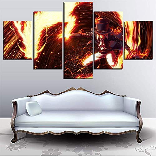 HD Prints on Canvas Picture Paintings 5 Panel Anime Monkey D. Luffy Poster Print Canvas Painting Wall Decor for Home Decor,F,30x402+30x602+30x801