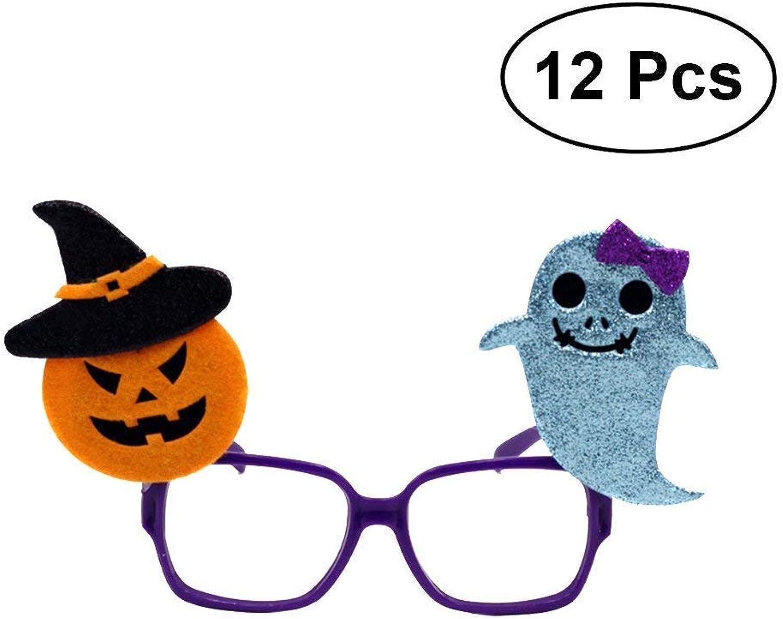Creative Holiday Decoration Supplies 12Pcs Halloween Trick Toy Glitter Funny Glasses Eyewear Party Prank Props (Pumpkin bluee Spirit)