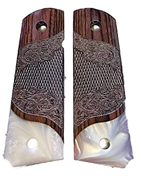 Premium Gun Grips Compatible Replacement for 1911  Gentleman Grips  Colt Full Size Carved Rosewood Grips w/Faux Pearl Accent