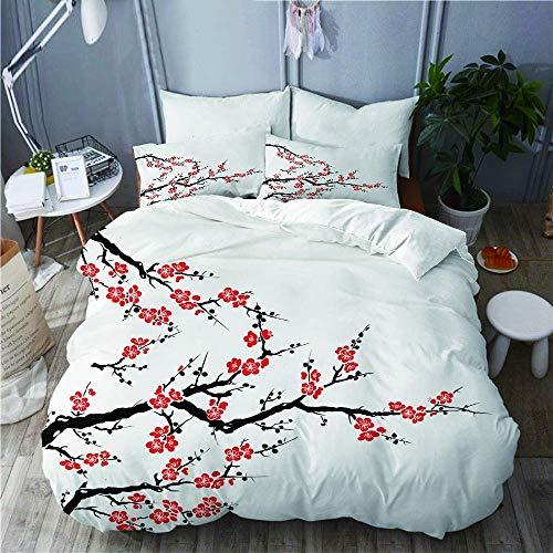 7788 Juego de funda de edredón, diseño de flores de cerezo asiático, botánico, líneas orgánicas frescas, juego de cama decorativo de 3 piezas con 2 fundas de almohada, tamaño individual