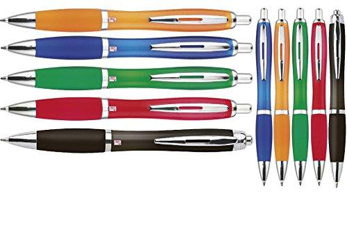 Kugelschreiber 10er Set Sparset In Blau Grün Rot Orange Gelb Schwarz Blaue Mine Ergonomischer Dicker Griff Neu Neutral Kulli Ohne Gravur Druck 10 Stück Set von noTrash2003
