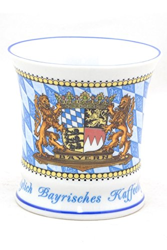 Kaffeetasse Königlich Bayerisch, Stilvolles Bayerisches Kaffeehaferl, Wappen Bayern, Rautenmuster, Außergewöhnliche Form