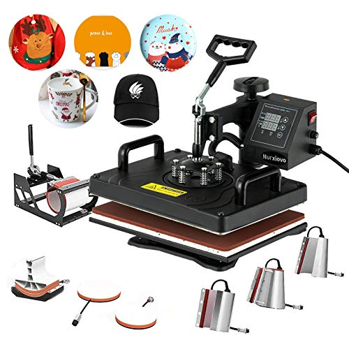 Heat Press- Nurxiovo 8 in 1 Swing Away Digital Heat Press Machine, 12x15 inches Vinyl Transfer, Multipurpose Combo Kit Sublimation Hot Pressing Machine for T Shirts, Mug, Hat, Plate, Cap…