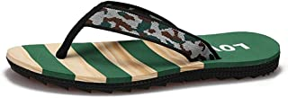 QinMei Zhou Summer Beach Slippers for Men Casual Flip Flops Thong Fabric Straps Lightweight Indoor Outdoor Slip on (Color : Green, Size : 6.5 UK)