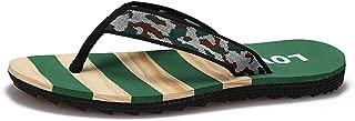 QinMei Zhou Summer Beach Slippers for Men Casual Flip Flops Thong Fabric Straps Lightweight Indoor Outdoor Slip on (Color : Green, Size : 6.5 UK)