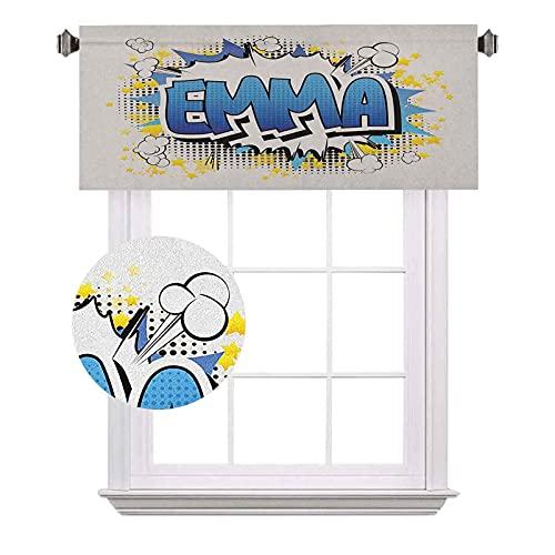 Emma - Cenefas cortas, diseño de nombre energético juvenil para adolescentes con estrellas y explosión, ahorro de energía para...