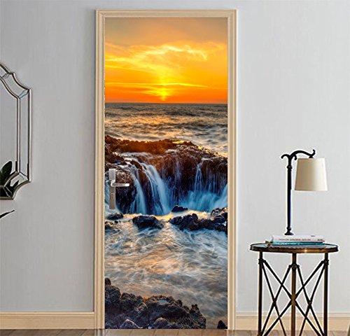 LXZHJL 3D Arte Porta Membrana Portale Adesivo Murale Applique Carta Da Parati Porte Poster Scogliera dell'onda del mare della cascata di tramonto Impermeabile Adesivi per Porte Interne PVC arredo casa