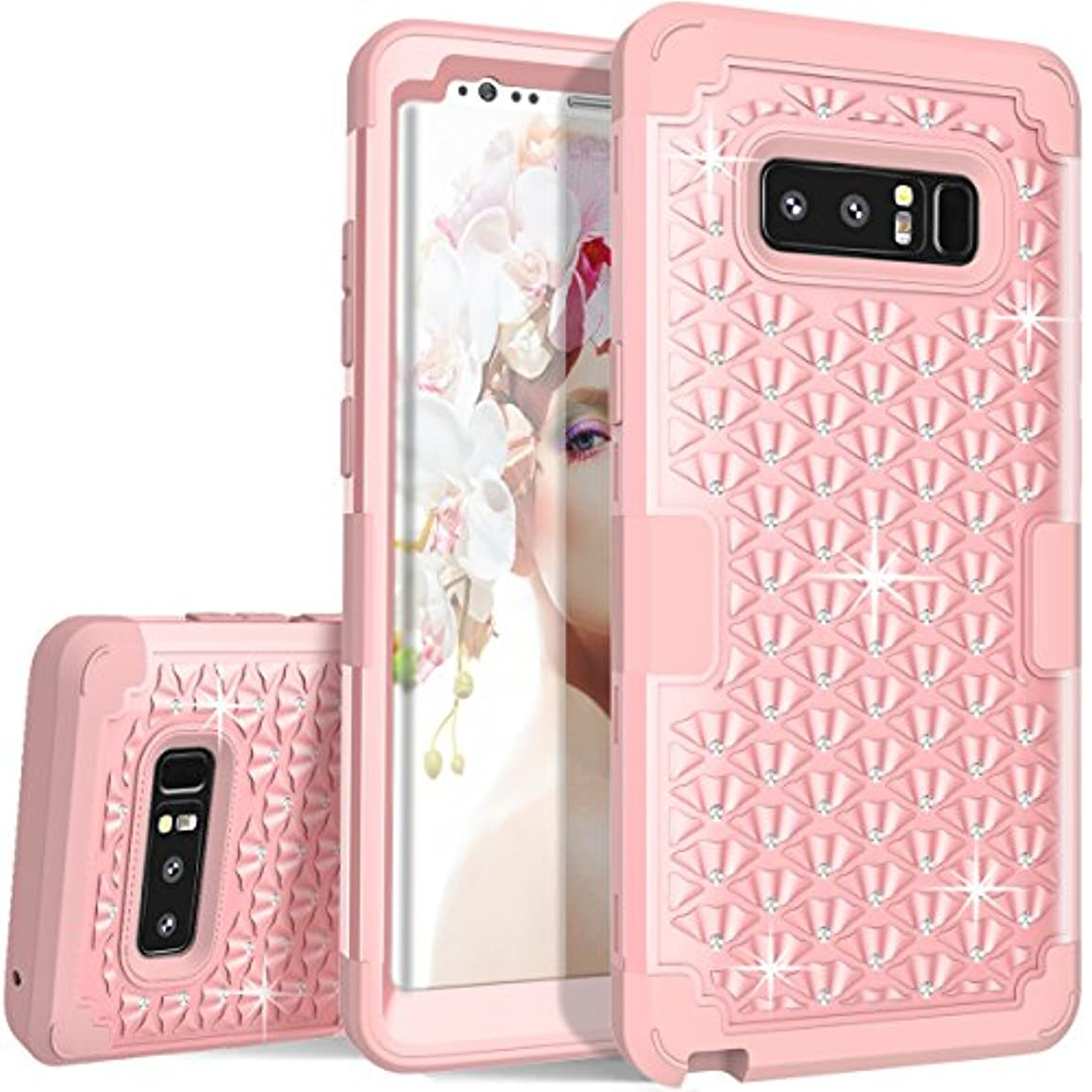 Samsung Galaxy Note 8 Case, ZAOX Hybrid Heavy Duty Shockproof Diamond Studded Bling Rhinestone Case with Dual Layer [Hard PC Plus Soft Silicone] Impact Protection (Rose Gold)