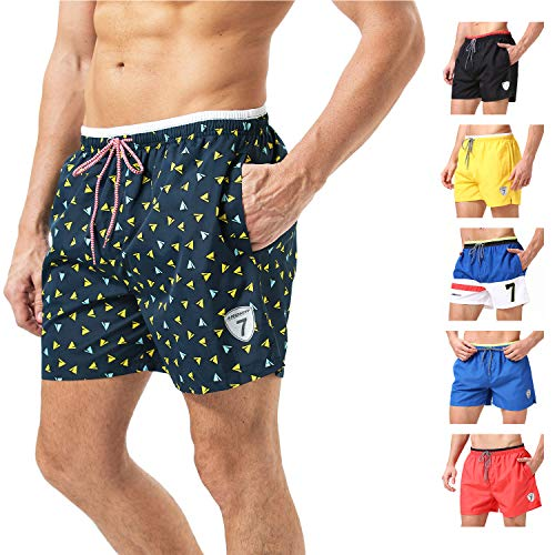 Lapulas Men's Swim Trunks Board Quick Dry Swim Shorts Beach Bathing Swimsuits with Mesh Lining Pockets (Blue-Airplane, 2XL)
