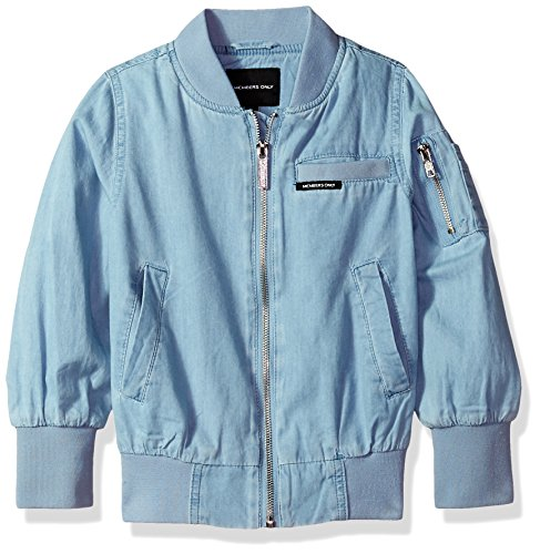 Members Only Girls' Little Cotton Bomber Jacket, Chambray, 4